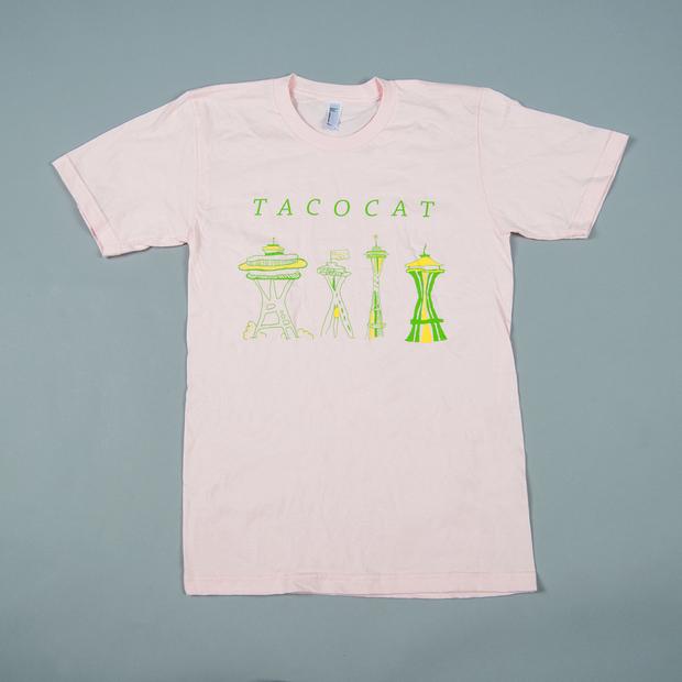 Tacocat tshirt spaceneedle pink 01